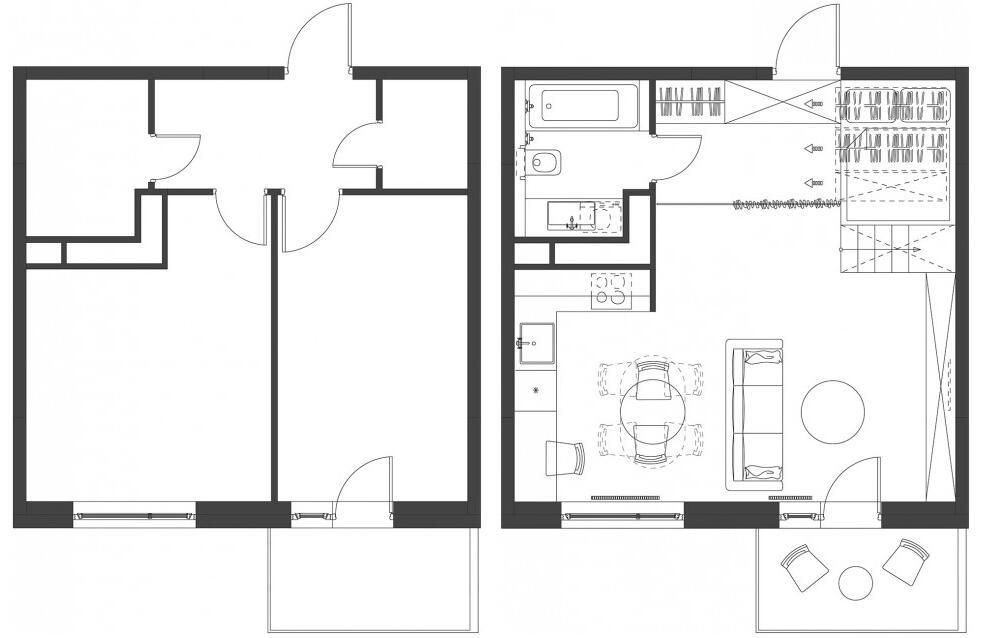 此项目是设计师和其老婆居住的35平米的小公寓。设计的主要任务是创造一个舒适开敞的空间既可以储藏东西又可以充分沐浴日光。设计师绝对设计一个家具系统来最大化的利用现存的空间。木质的睡眠盒子提供了储存空间,其处于公寓的一角,高于地面的高度保证了其私密性,厨房和起居空间位于另一侧。从公寓的各个角度都能欣赏到窗外的景观,使其更加舒适慵懒。   改造前平面图(左)/ 改造前平面图(右)    木质的睡眠盒子提供了储存空间,其处于公寓的一角,高于地面的高度保证了其私密性    睡眠盒子表面是染色的松木板,木材为室