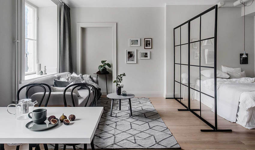 瑞典46㎡单身公寓,隔断用的好,单间变套房|小空间设计