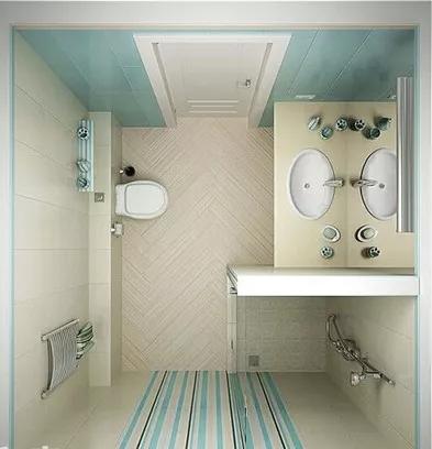 这一款正方形的卫生间,首先是座便器后方的垫高墙体,巧妙的为后面
