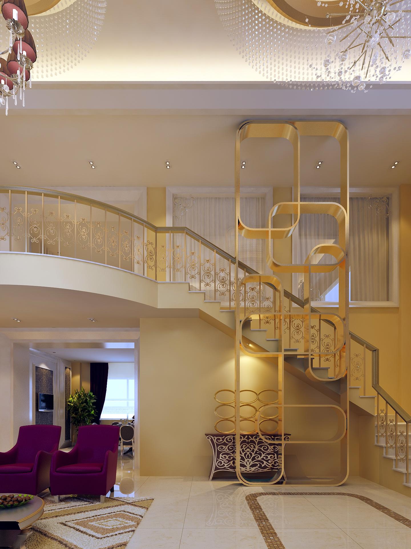 欧式客厅楼梯效果图