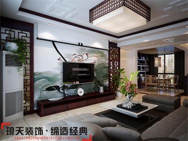 本案设计定位简中式风格。客厅设计较为简洁,且格调高
