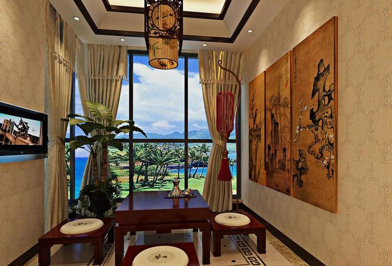中式休闲区背景墙效果图