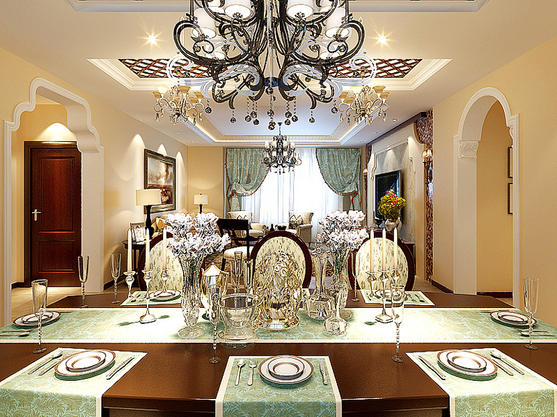 185平地中海风格家装案例图餐厅