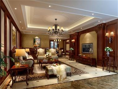 114平美式风格装修效果图客厅