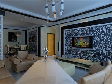 混搭客厅电视背景墙效果图