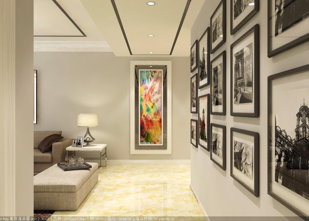 现代玄关照片墙效果图
