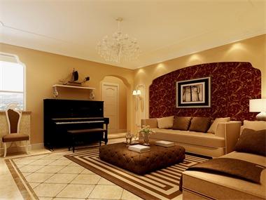 简欧客厅沙发背景墙效果图