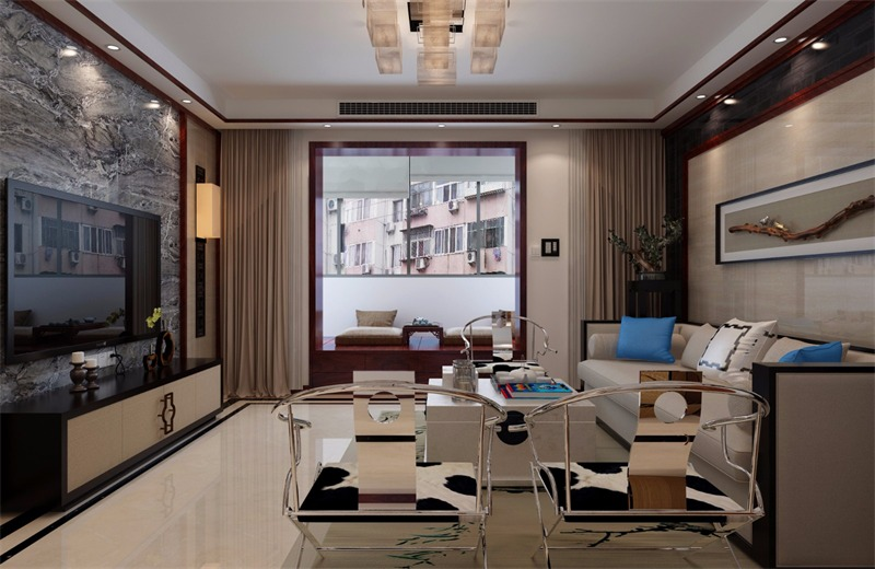中式客厅飘窗效果图