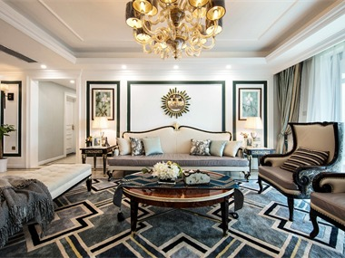 美式客廳沙發背景墻實景圖