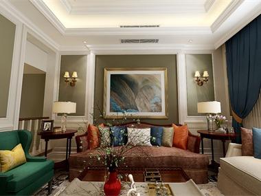 美式客廳沙發背景墻效果圖