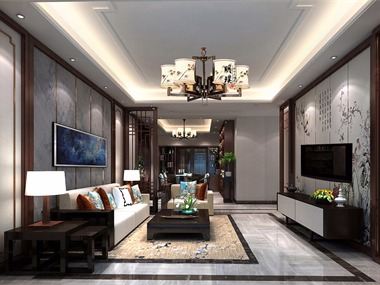 中式客廳電視背景墻效果圖