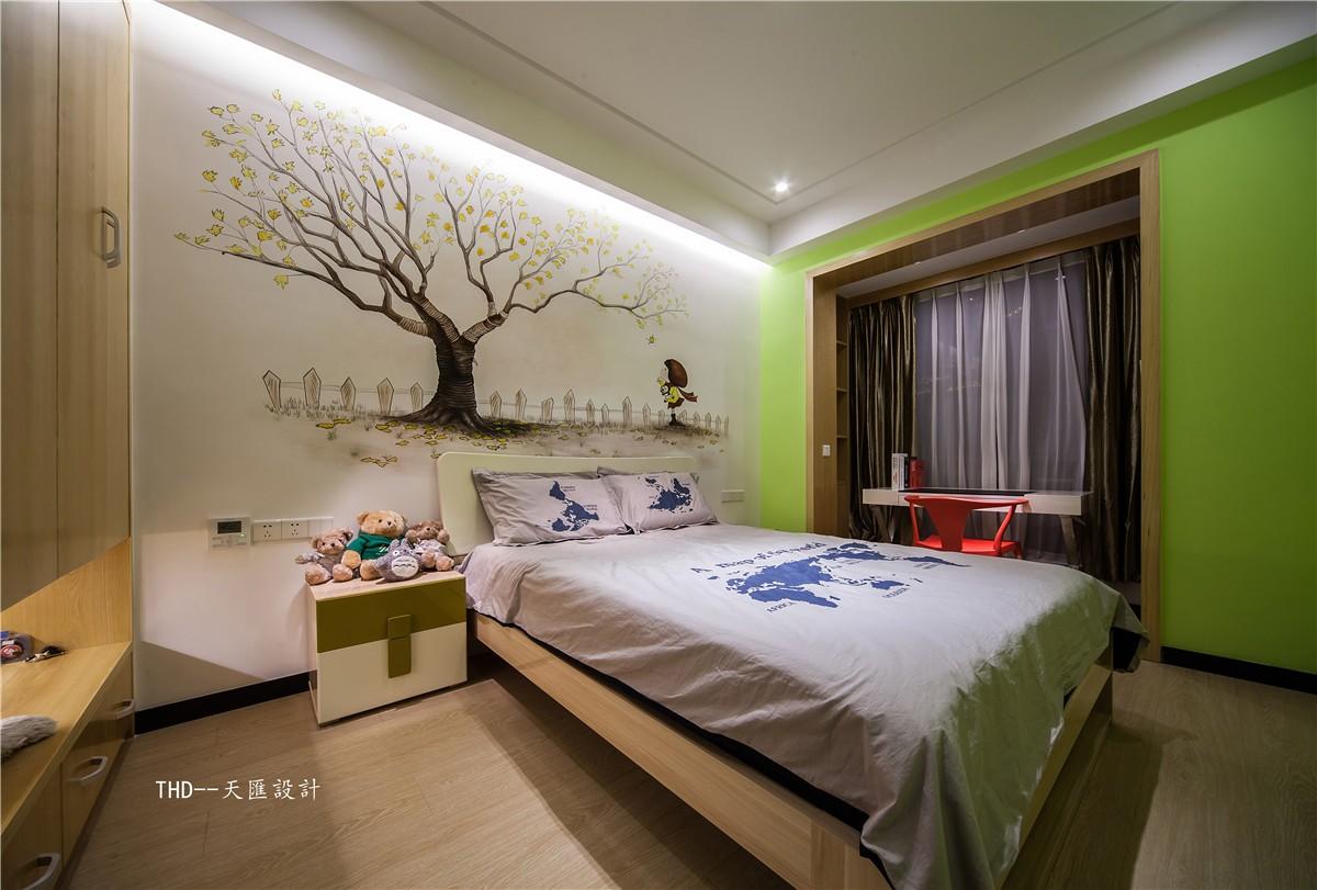 中式儿童房背景墙实景图