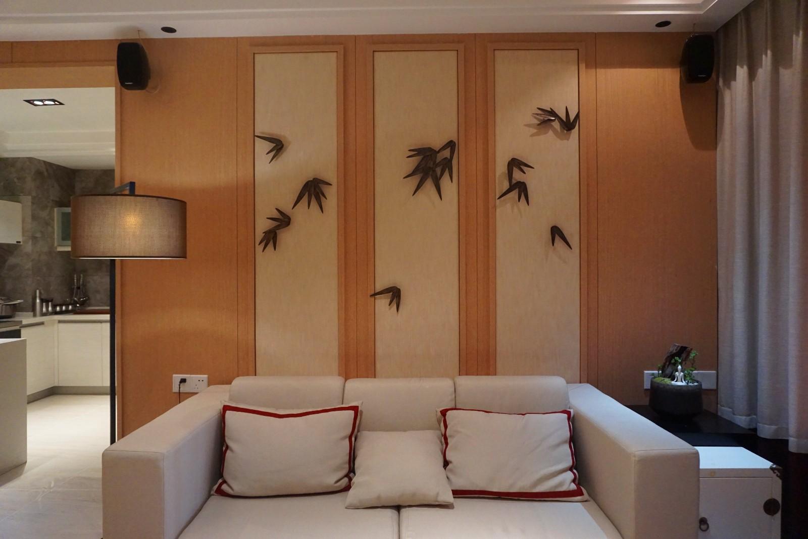 日式客厅沙发背景墙效果图