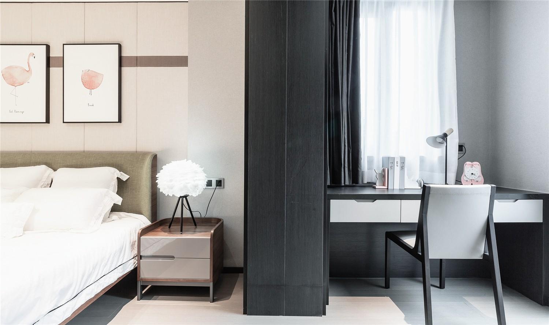 现代卧室工作区实景图