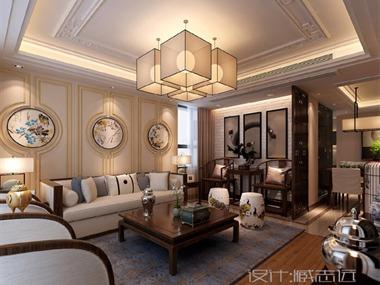 新中式客廳沙發背景墻效果圖