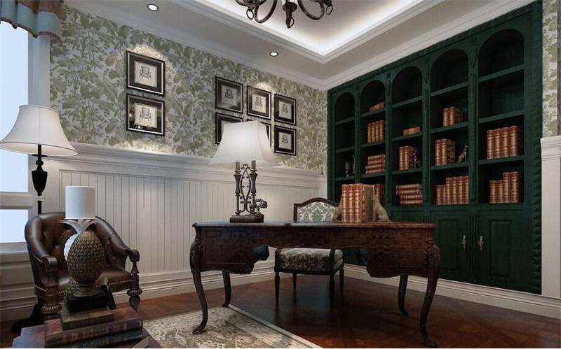 美式书房背景墙效果图
