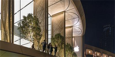 迪拜新开的这家苹果店,可以让你观赏到最大的音乐喷泉
