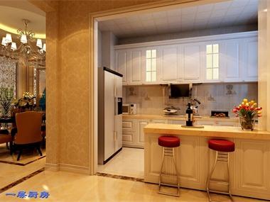 简欧厨房吧台效果图