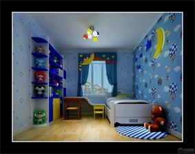 新古典儿童房背景墙效果图